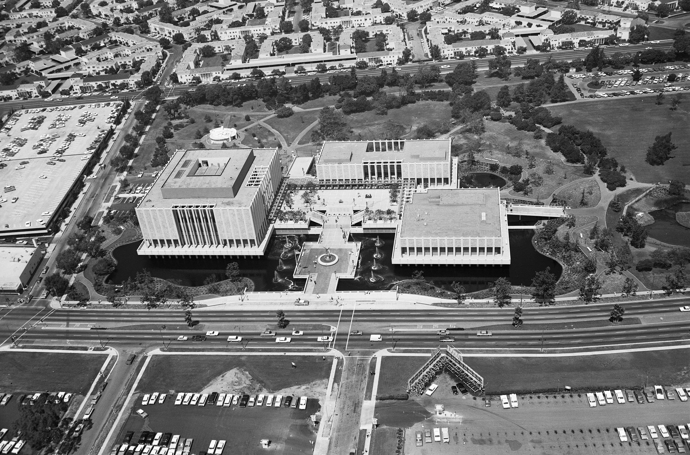 Aerial view of Los Angeles County Museum of Art, c. 1965