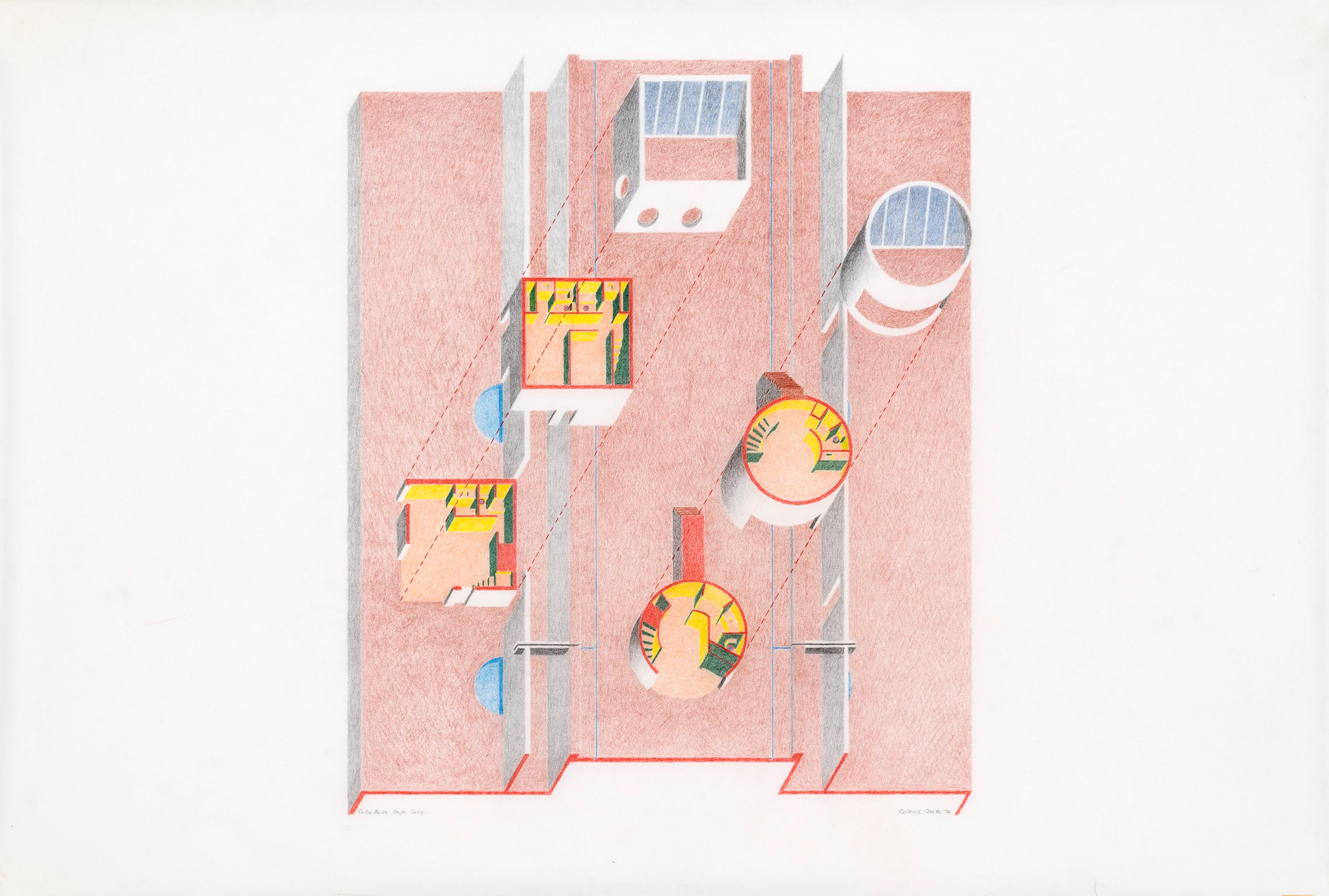 Explode axonometric, colored pencil on vellum. Collection of the architect. Photo: Josh White